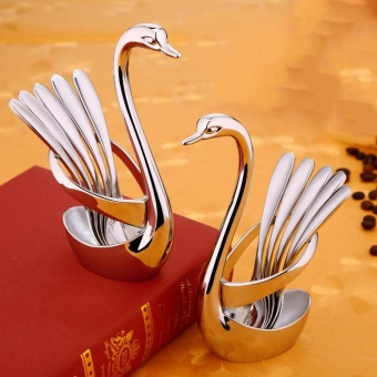Korean Creative Thick 304 Stainless Steel Coffee Tea Long HandleSpoon Swan Cutlery Set Color:White - intl