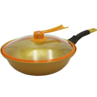 Korean Golden Vacuum Skillet 32 cm Wok non-stick Ceramic Fry Panwith loop handle 698 (Golden Yellow)