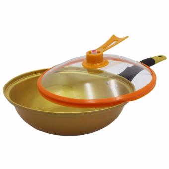 Korean Golden Vacuum Skillet 32 cm Wok non-stick Ceramic Fry Panwith loop handle 698 (Golden Yellow) with Free Korea 6pcs CookingUtensil Heat Resistant Ladle (Red/Black) and Silicone MultipurposeFunnel Strainer (Red) - 2