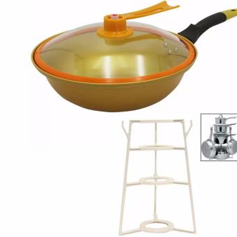 Korean Golden Vacuum Skillet 32 cm Wok non-stick Ceramic Fry Panwith loop handle 698 (Golden Yellow)With Pantree Pots and PansOrganizer (White)