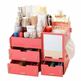Korean Multi-function Wooden Drawer Style Makeup Cosmetics JewelryStorage Box Case Rack Organizer