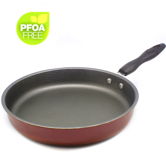 Korean Non-Stick Flat Pebble Surface Frying Pan 26cm (Red)