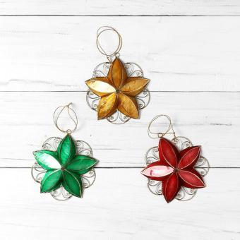 Kultura Capiz Star Ornaments (Set of 3)