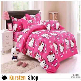 KurstenShop 4in1 Bedsheet POLY COTTON HELL0 Kitty STAR Design(2 pcs pillow case , 1pcs fitted and 1pcs bedsheet)QUEEN