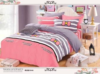 KurstenShop 4in1 Bedsheet US COTTON ELEGANT Pink with RibbonDesign(2 pcs pillow case , 1pcs fitted and 1pcs bedsheet)-Single