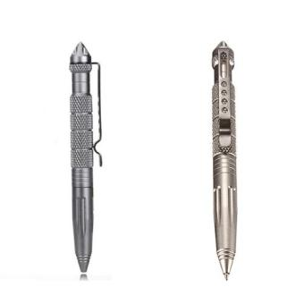 LAIX B2 Multifunctional Aluminum Alloy Self Defense ProtectionTactical Pen Glass Breaker (Gold/Grey) Set of 2 Price Philippines