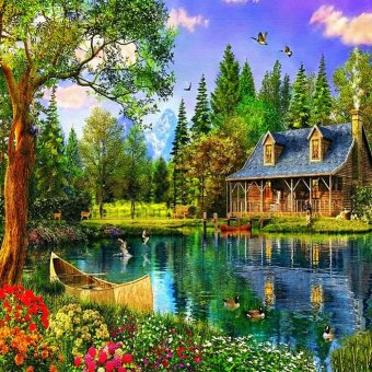 Lakeside Cabin Home Decor DIY Diamond Painting Full DiamondEmbroidery Mosaic Pictures of Rhinestones Landscape Wall Art Decor