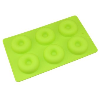 LALANG 6 Holes Doughnut Silicone Baking Pan Cake Mould Candy Mold(Green) - intl Price Philippines