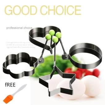 L&T Candy Online 4Pcs Set Stainless Steel Pancake Mould KitchenFried Egg Shaper Cooking Tools Free Bbq Brush