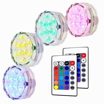 Lan Yu Litake 4 Packed Submersible Lights RGB Multi-colorWater-resistant IP67 With Remote Control Floral Decoration forAquarium Pond Vase Base Party Wedding Halloween Christmas HolidayLighting - intl