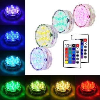 Lan Yu Litake 4 Packed Submersible Lights RGB Multi-colorWater-resistant IP67 With Remote Control Floral Decoration forAquarium Pond Vase Base Party Wedding Halloween Christmas HolidayLighting - intl - 2