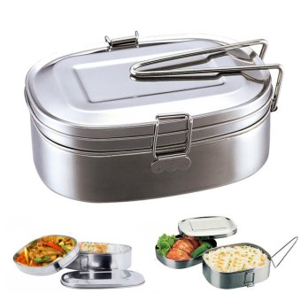 Large Stainless Steel Student Oval Case Bento Lunch Box Food