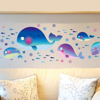 Large Whales Fishes Sea Bubbles Wall Decal Home Sticker PVC MuralsVinyl Paper House Decoration Wallpaper Living Room Bedroom KitchenArt Picture DIY for Children Teen Senior Adult Nursery Baby - Intl