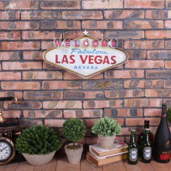 Las Vegas-style Decoration Metal Painting Neon Welcome Signs LedBar Wall Decor Hanging Metal Sign 49x5x25.5cm - intl