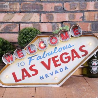 Las Vegas-style Decoration Metal Painting Neon Welcome Signs LedBar Wall Decor Hanging Metal Sign 49x5x25.5cm - intl - 2