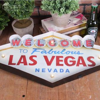 Las Vegas-style Decoration Metal Painting Neon Welcome Signs LedBar Wall Decor Hanging Metal Sign 49x5x25.5cm - intl - 4