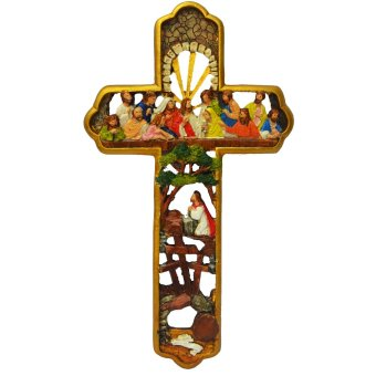Last Supper Cross Jesus Christ with 12 apostles / Wall decor GOLD Religious Item Ready to Hang (Made of Fiberglass Resin) by Everything About Santa (Christmas decoration and gift suggestion)