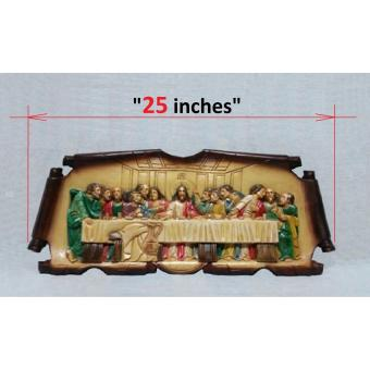 LAST SUPPER PAINTED - Colored Wood Carving ( SMALL - 25 inches )