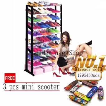lazada and USA best selling Shoe Rack Black with free 3 pcs mini scooter