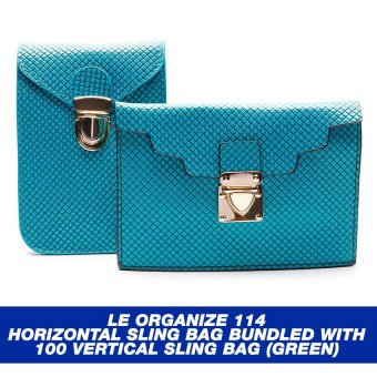 Le Organize 114 Horizontal Sling Bag Bundled with 100 Vertical Sling Bag (Green)
