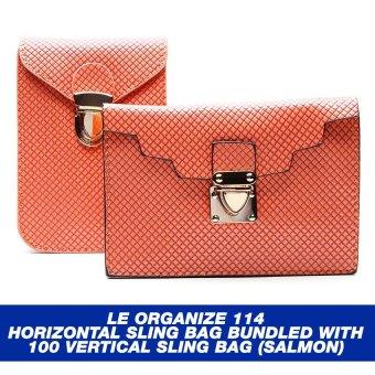 Le Organize 114 Horizontal Sling Bag Bundled with 100 Vertical Sling Bag (Salmon)