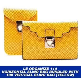 Le Organize 114 Horizontal Sling Bag BUNDLED with 100 Vertical Sling Bag (Yellow)
