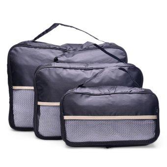 Le Organize Packing Cubes Set of 3 pcs. (Black/Khaki Stripe)