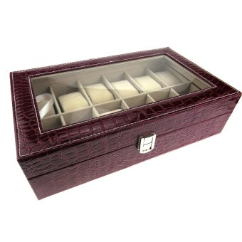 Leather Watch Box and Jewelry Box 12 Compartment Organizer(Red-Brown)