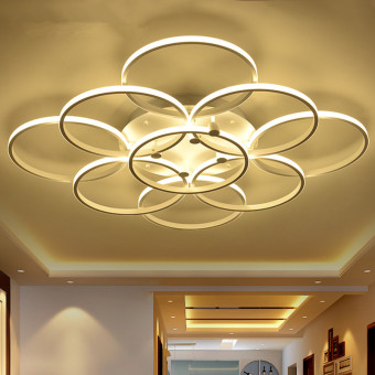 LED Ceiling Light 60CM 98W (Warm Light) Nine Rings DSX3305 CreativeAcrylic Round Lamps Bedroom Restaurant Oyster Lights - intl