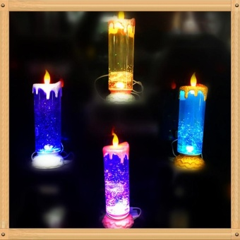 LED Glitter Flameless Candle Lights, 7 Colors Changing FlickeringLED Tea Light, USB Rechargeable Spinning Candle Night Lamps ForParty Decoration Color:Multicolor Power:One - intl