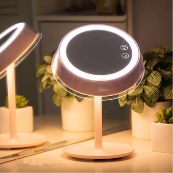 LED Lighted Makeup Vanity Mirror Makeup Lamp With Touchscreen Seven Color Lights Rechargeable Bedside Table Lamp (Pink) - intl