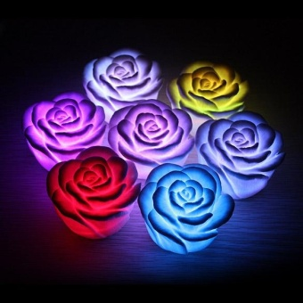 LED Romantic Rose Flower Shape Color Changed Lamp Light F - intl