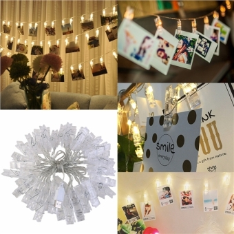 LEDMOMO 5m 40 LED Photo Clip String Lights 3000K for Hanging Pictures / Notes / Artwork (Warm White) - intl