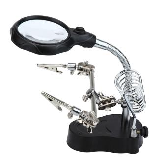 leegoal 3.5x 12X LED Magnifying Glass Helping Hand Magnifier ToolWith Soldering Iron Stand Adjustable Alligator ClipClampsWorkstation Light Battry Powered - intl