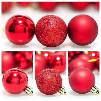 leegoal Christmas Baubles Tree Balls Decorations Ornament Xmas Tree Festival Party Pendant Baubles,24pcs,4cm,Red - intl - 2