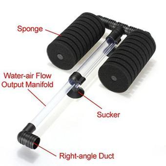 leegoal Double Head Air Pump Sponge Filter For Aquarium Tank Size20 Gallon (Black) - intl - 4