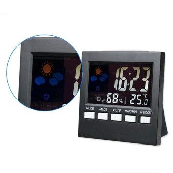 Leegoal LCD Screen Digital Indoor Weather Forecast TemperatureHumidity Monitor Alarm Clock,Black - intl - 4