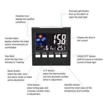 Leegoal LCD Screen Digital Indoor Weather Forecast TemperatureHumidity Monitor Alarm Clock,Black - intl - 2