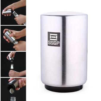leegoal Magnetic Automatic Beer Bottle Cap Opener,Stainless SteelPush Down Beer Opener,Silver - intl - 3