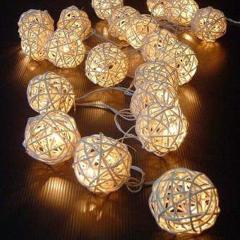 Leegoal Rattan Ball Christmas String Lights Warm White, 3M/10Ft 20LED Fairy Lights Plug In For Wedding Party Holiday Home BedroomDecoration - intl