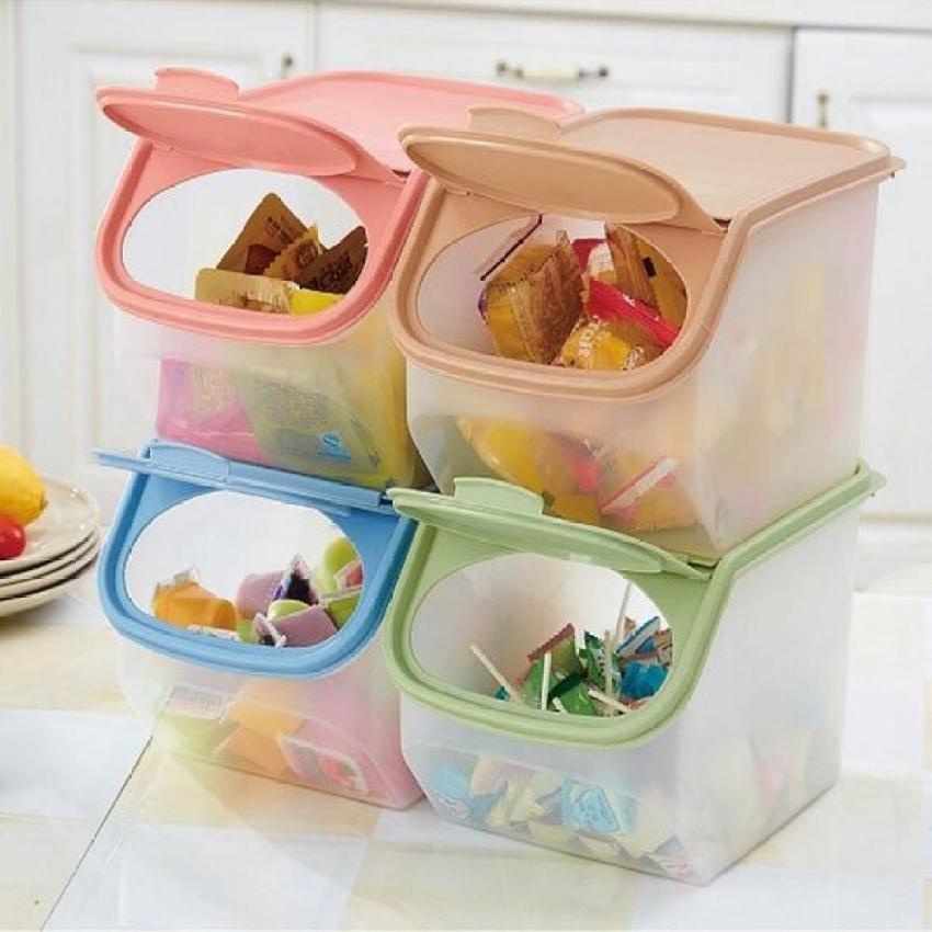 2 PCS Plastic Transparent Sealed Pot Grain Storage Box Kitchen Source · LGD Plastic Kitchen Food
