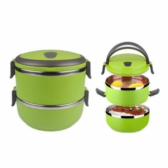 LGD Two Layers Stainless Steel School Bento Lunch Box LunchboxFoodstorage Container Green - intl