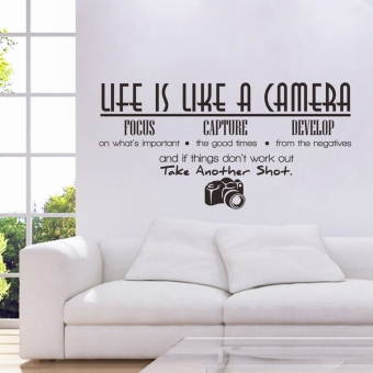 Life Is like a Camera Quote Wall Stickers Home Decals Decoration Diy Vinyl Room