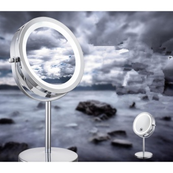 Lighted Makeup Mirror, Tabletop Vanity Round Double-Sided Cosmetic Mirror 3 X Magnifying Mirror Lamp with Natural White LED 360-Degree Rotation - intl
