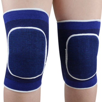 Linemart 1 Pair Sponge Knee Wrap Support Elastic Brace Band Patella Sport Knee Pad Protective Band (Blue)