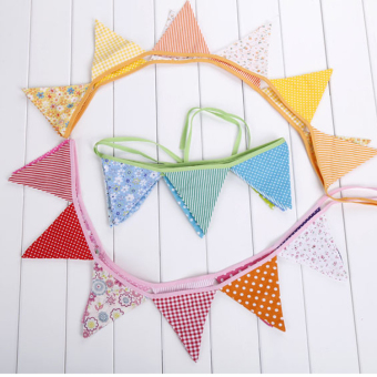 Linemart 12 Colorful Flags Fabric Bunting Pennant Flags Party Decoration Banner Christmas Party Supplies Events Wedding Decoration - picture 2