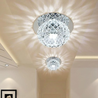Living Room Round Led Aisle Corridor Lights Turn Off the Lights Crystal Ceiling Light(12cm+5W+White Light+LED Fixed Luminaire) - intl Price Philippines