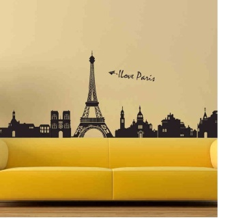 Living room stickers romantic Eiffel Tower sticker background Wallpaper