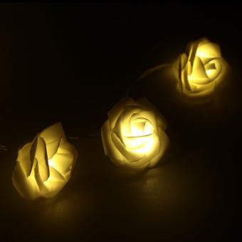 LIXADA 2.2M 20 LED Flower Rose Lamp Fairy String Light for Party Wedding Home Decor Christmas Gift Warm White (Intl)
