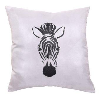 LMC Zebra Print Throw Pillow Case Set of 2 Black/White - picture 2